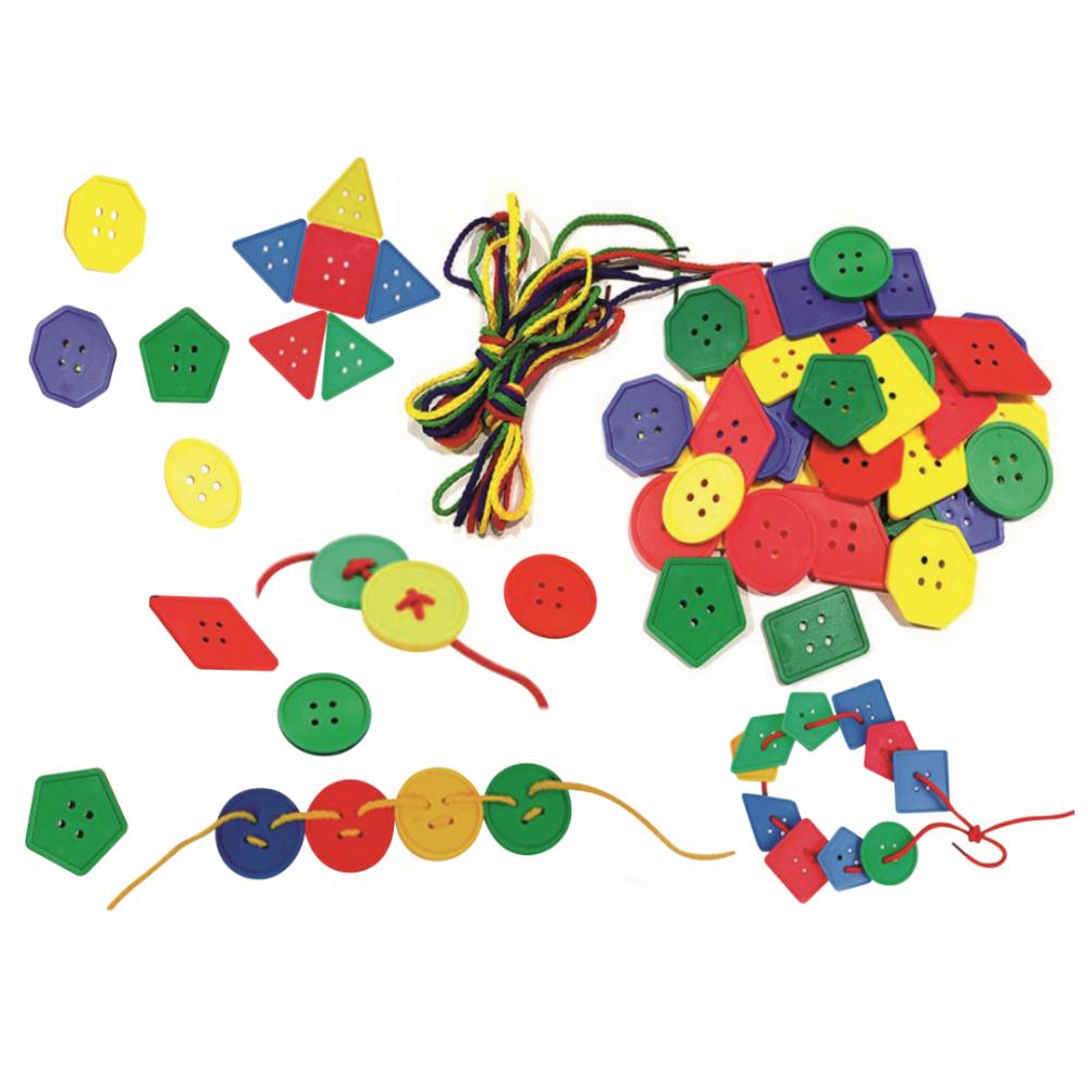 Παιδικά γεωμετρικά κουμπιά 96 κομμάτια Πολύχρωμα,  KGB-721
