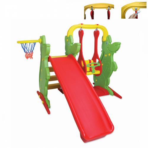 Παιδική Τσουλήθρα με Κούνια και Δίχτυ για Μπάσκετ, Κόκκινο-Πράσινο, KKS-060-A