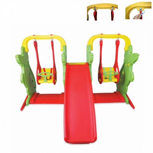Παιδική Τσουλήθρα με 2 Κούνιες, Κόκκινο-Πράσινο, KKS-060-B
