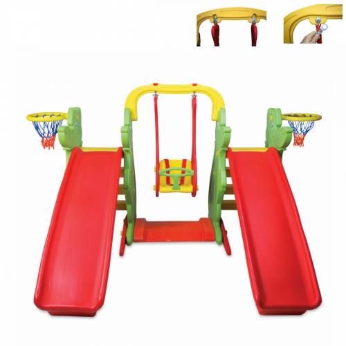 Παιδική Χαρά με 2 Τσουλήθρες, Κούνια και δύο Μπασκέτες, Κόκκινο-Πράσινο, KKS-060-C