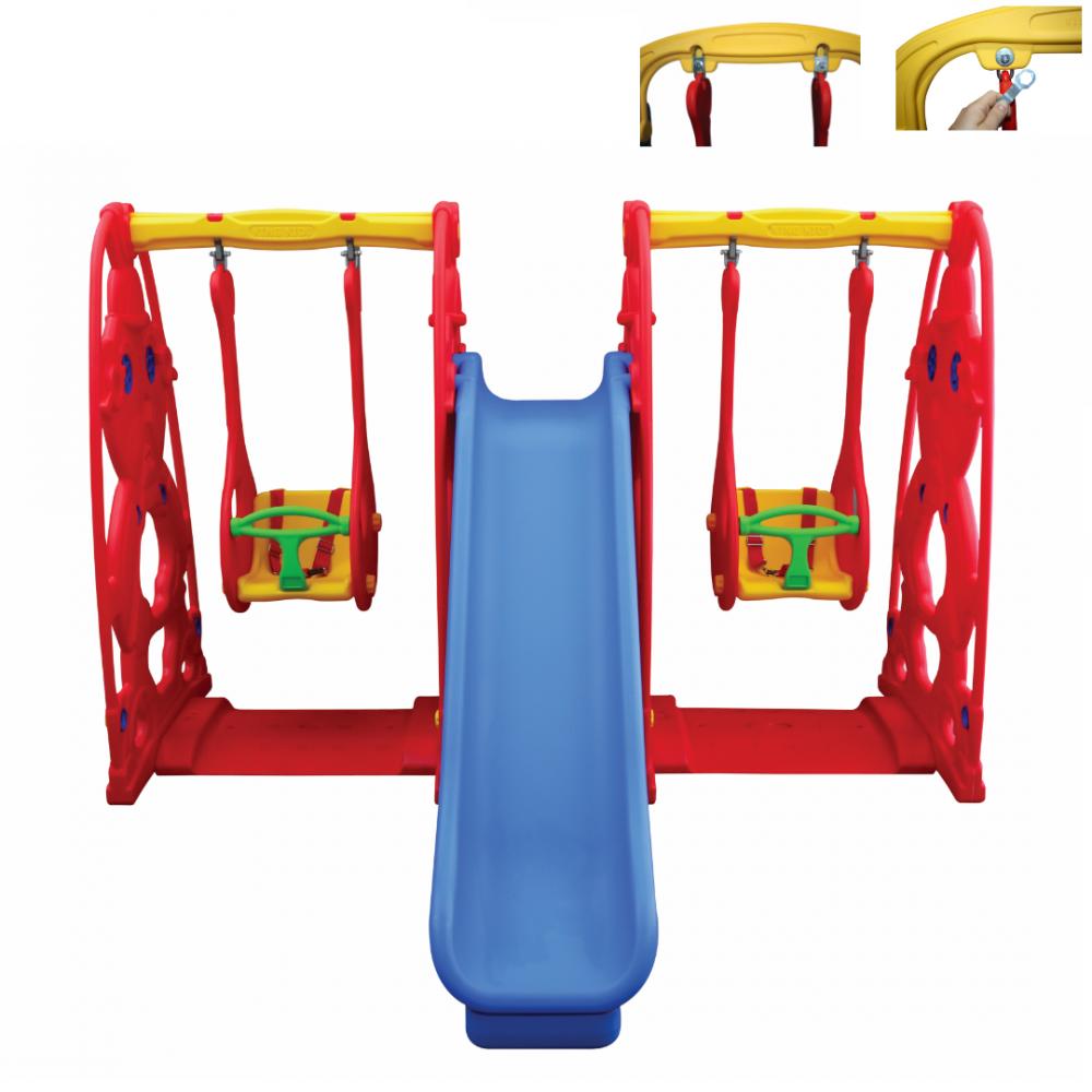 Παιδική Τσουλήθρα Με Δύο Κούνιες Πλαστική Κόκκινο-Μπλε KST-060-B