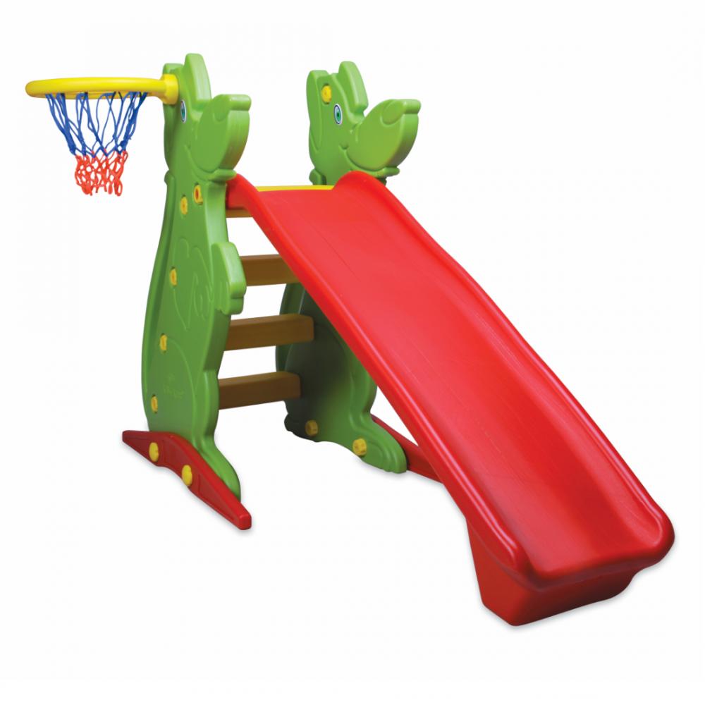 Παιδική Τσουλήθρα με Δίχτυ Μπάσκετ , Κόκκινο-Πράσινο, KKS-061