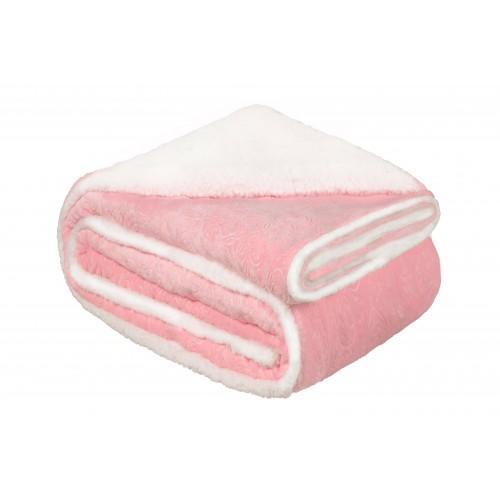 Oxford Κουβέρτα Προβατάκι δύο όψεων, Υπέρδιπλη 220Χ240, Ρόζ BL-209