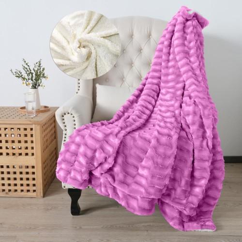 Oxford Κουβέρτα Προβατάκι δύο όψεων, Διπλή 200Χ240, Μώβ BL-004