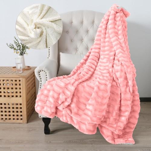 Oxford Κουβέρτα Προβατάκι δύο όψεων, Διπλή 200Χ240, Ρόζ BL-005