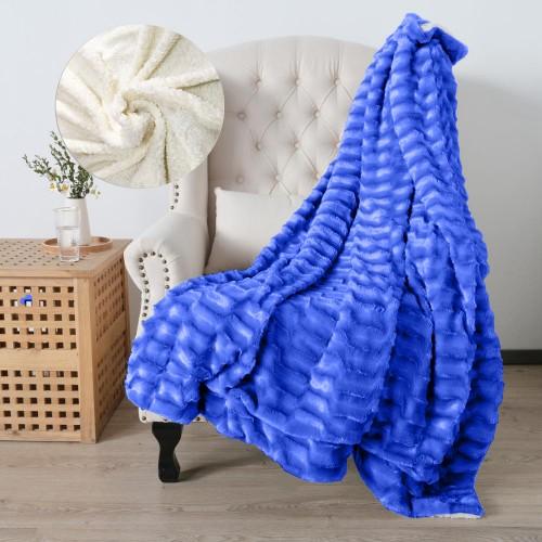 Oxford Κουβέρτα Προβατάκι δύο όψεων, Διπλή 200Χ240, Μπλέ BL-006