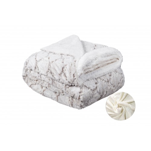 Oxford Κουβέρτα Προβατάκι δύο όψεων, Διπλή 200Χ240, Λευκό-Καφέ BL-029