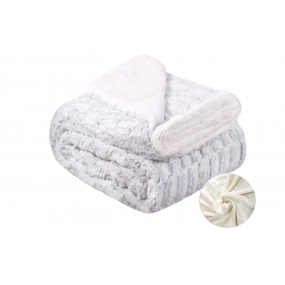 Oxford Κουβέρτα Προβατάκι δύο όψεων, Υπέρδιπλη 220Χ240, Λευκό-Γκρί BL-040