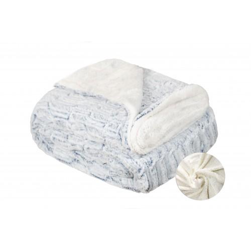 Oxford Κουβέρτα Προβατάκι δύο όψεων, Υπέρδιπλη 220Χ240, Λευκό-Μπλέ BL-106