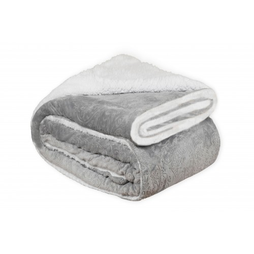 Oxford Κουβέρτα Προβατάκι δύο όψεων, Υπέρδιπλη 220Χ240, ΓΚΡΙ BL-210