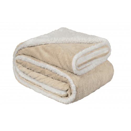 Oxford Κουβέρτα Προβατάκι δύο όψεων, Υπέρδιπλη 220Χ240, ΚΡΕΜ BL-214