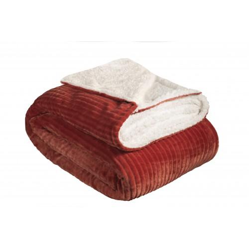 Oxford Κουβέρτα Προβατάκι δύο όψεων, Υπέρδιπλη 220Χ240, ΜΠΟΡΝΤΟ , BL-228
