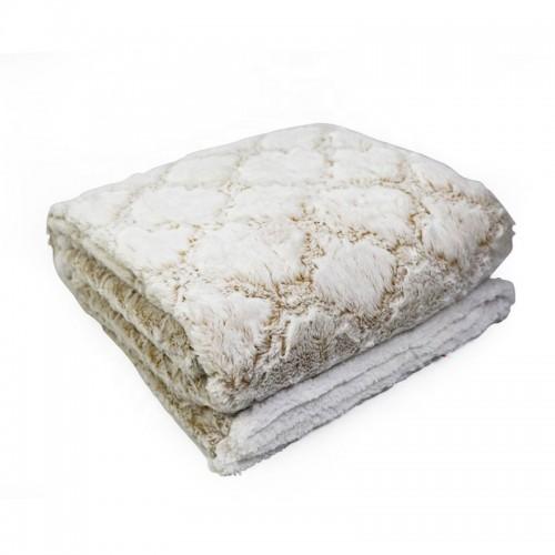 Oxford Κουβέρτα Προβατάκι δύο όψεων, Διπλή 200Χ240, Λευκό-Καφέ BL-024