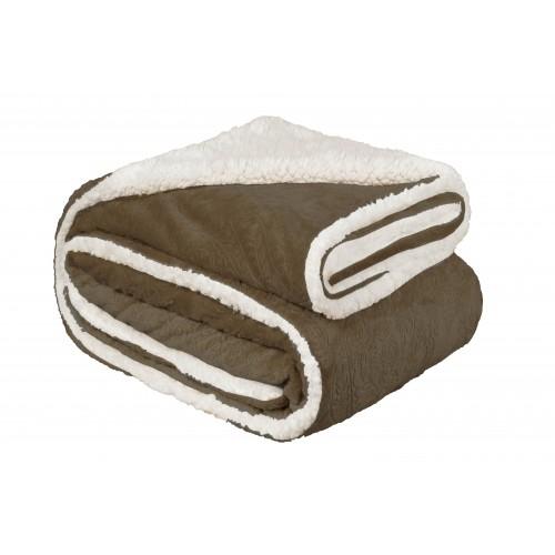 Oxford Κουβέρτα Προβατάκι Ανάγλυφη,Υπέρδιπλη 220Χ240, Καφέ BL-022