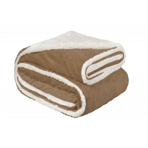 Oxford Κουβέρτα Προβατάκι Ανάγλυφη,Υπέρδιπλη 220Χ240, Καφέ-Ανοιχτό BL-023