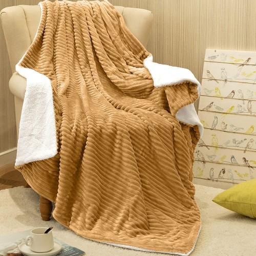 Κουβέρτα Βελουτέ δύο όψεων, Μονή 160Χ220, Μπέζ, BK-004