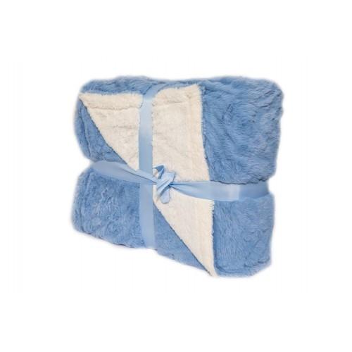 Oxford Κουβέρτα Προβατάκι δύο όψεων, Διπλή 200Χ240, Γαλάζιο BL-104