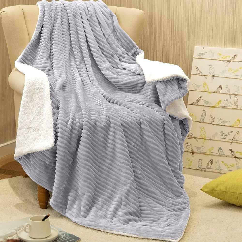 Oxford Κουβέρτα Προβατάκι δύο όψεων, Υπέρδιπλη 220Χ240, Γκρί BL-059