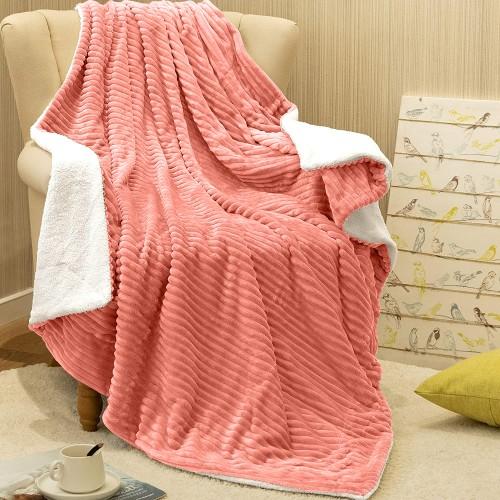 Oxford Κουβέρτα Προβατάκι δύο όψεων, Υπέρδιπλη 220Χ240, Ροζ BL-061