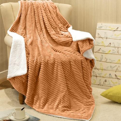Oxford Κουβέρτα Προβατάκι δύο όψεων, Υπέρδιπλη 220Χ240, Χρυσό BL-066