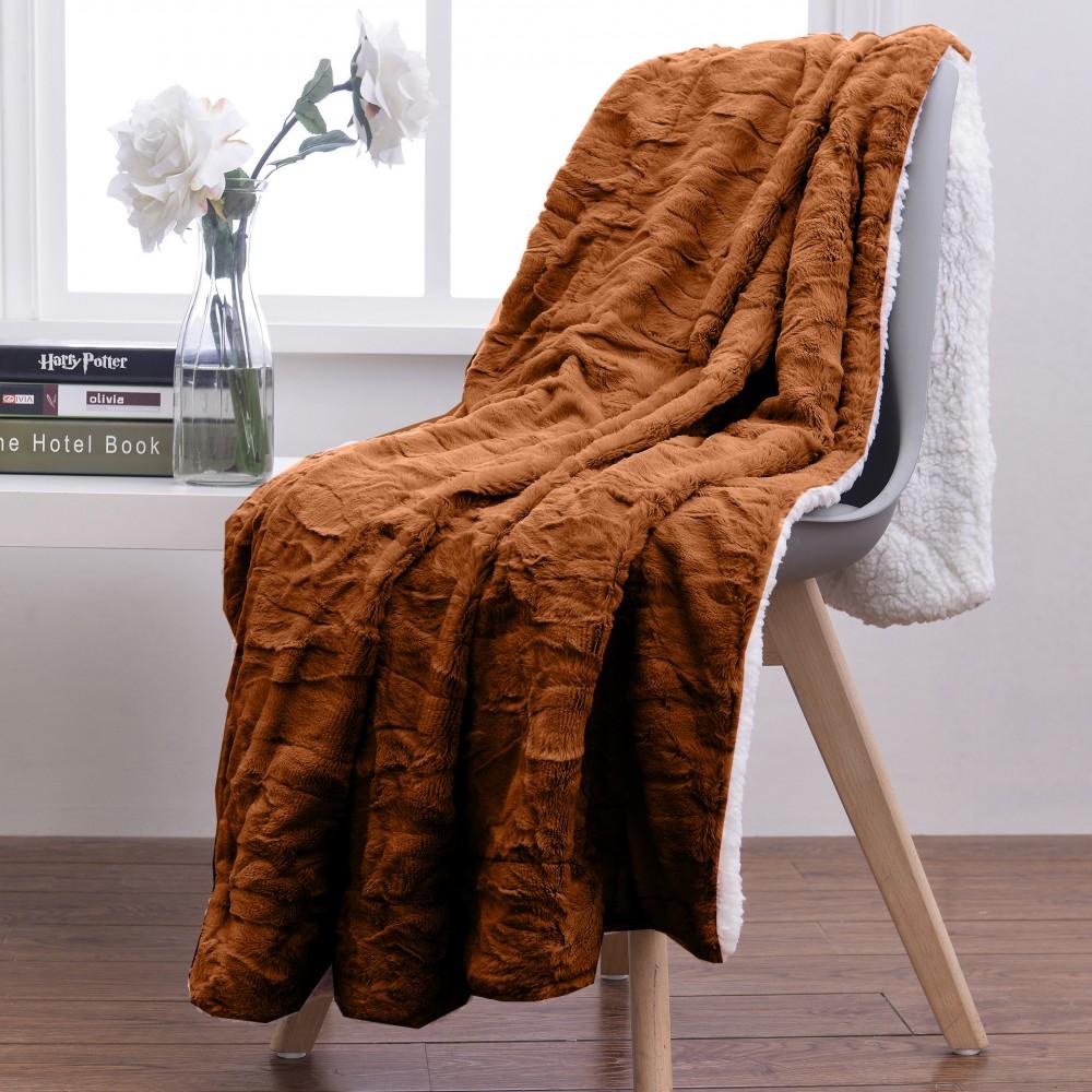 Oxford Κουβέρτα Προβατάκι δύο όψεων, Διπλή 200Χ240, Καφέ Σκούρο BL-207