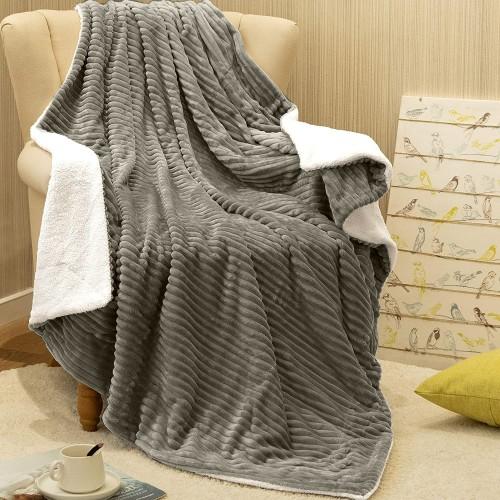 Oxford Κουβέρτα Προβατάκι δύο όψεων, Μονή 160Χ220, Γκρί BL-050